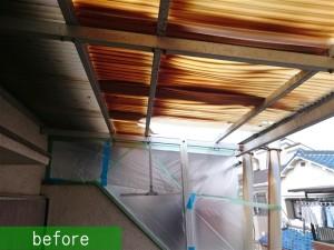 テラス屋根ポリカ張替え施工前