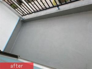 ベランダ床 ウレタン防水塗装工事施工後